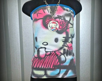 Punk Clothing . Tube Top . Size Small . Hot Pink . Clubwear . Graffiti . Urban Chic . Eco Chic . Recycled Clothing . Partywear . Kawaii