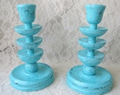 Hand Painted Candle Holders Turquoise Blue Shabby Wood Eclectic Home Decor Set of 2