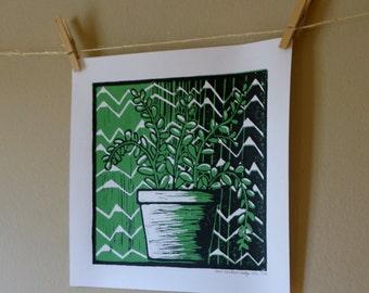SUCCULENT - green & black reduction print