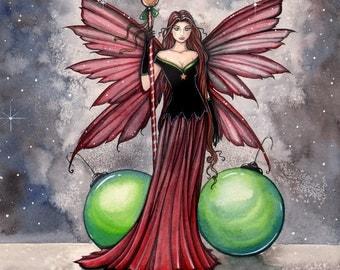 Yule Fairy - Christmas - Watercolor Giclee Print 9 x 12 by Molly Harrison Fantasy Art