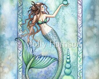 Balance - Mermaid Watercolor Illustration Fine Art Giclee Print - Molly Harrison Fantasy Art