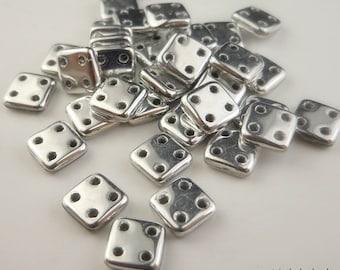 CzechMates QuadraTile Bead 6mm Silver - 4 Hole Tile Bead - 50 Beads