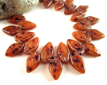 25 SMALL Organic Brown Czech Glass Leaf Beads, 10mm, Opaque Brown, Burnt Sienna, Brown Speckled Leaf, Black Speckled, Warm Brown Leaves P45