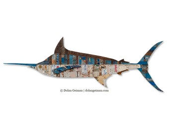 Marlin Metal Fish Wall Sculpture