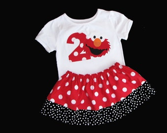 Boutique... ELMO... Birthday outfit... Sesame street inspired..red polka dots...Your child's NUMBER