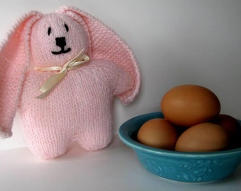 Pink Hand Knit Bunny Rabbit - Soft Toy
