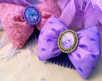 Lilac and Pink Wolf Hair Bows