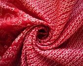Red Silk Shibori Fabric, Japanese Vintage Kimono, Asian Textile Craft Supply