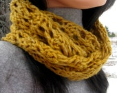 Cowl Scarf, Baby Alpaca, Handknit, Handdyed  Warm Lacey Winter Scarf; Circle, Gold Infinity, Womens Loop Scarf