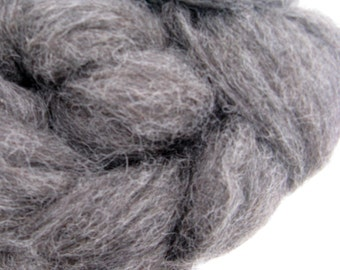 Charcoal Gray Alpaca Roving for Spinning and Felting - 4 ounces