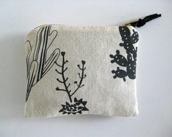 SALE - Coin Purse /Wallet - Hand screen printed cactus print  - L A S T  O N E !