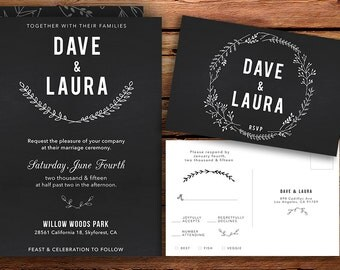 Chalk DIY Printable & RSVP Postcard Wedding Invitation
