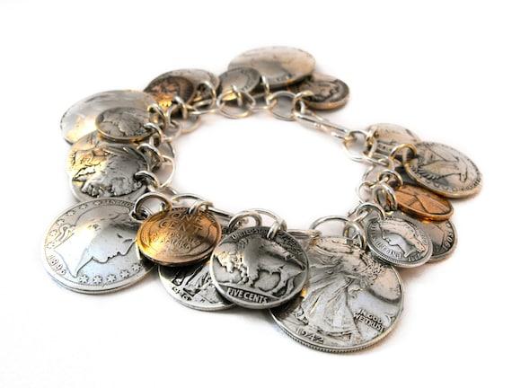 Loaded Coin Silver Charm Bracelet
