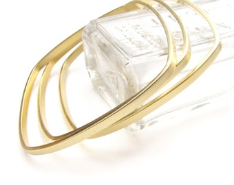 Square Bangles Gold Dipped - Trio of Bracelets - Three Wide Geometric Stacking Bangles by Queens Metal