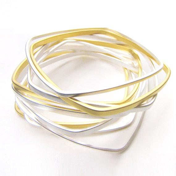 Square Bangles Gold and Silver Dipped - Set of Nine Narrow Geometric Stacking Bangles by Queens Metal