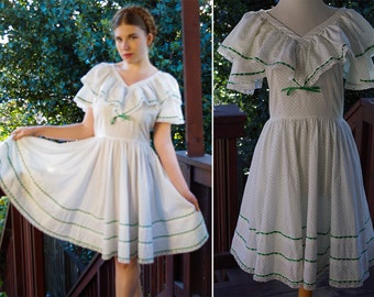 Polka DOT 1970's Vintage White + Green Dotted Square Dance Dress with Ruffles and Lace // size Medium