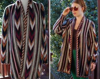COPPER 1970's 80's Vintage Oversized Deep Green + Burgundy Striped Cardigan Sweater // size Medium // by Reggie Morton