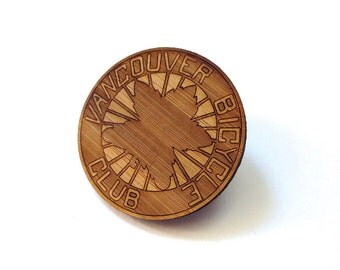 Vancouver Bicycle Club Pin - Bamboo - Wood Brooch - Wood Pin - Laser Cut - MOV