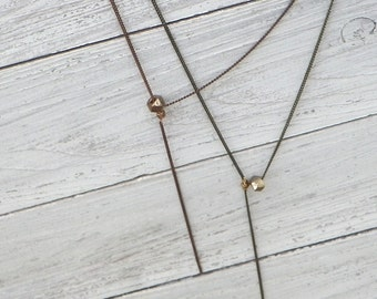 copper Y necklace, delicate Y necklace, beaded Y necklace, layering Y necklace