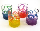 Tentacles Lowball Tumbler Glasses - Etched and Painted Glassware - Personalized Barware