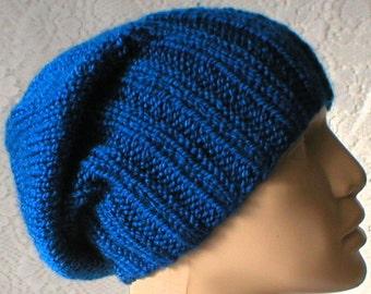 Royal blue watch cap, slouchy hat, brimmed beanie, blue hat, biker runner hiker, winter, toque, ski snowboard, mens womens hat, chemocap