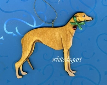 Fawn Greyhound Handpainted Christmas Ornament