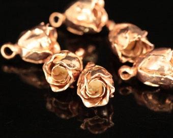 KZ-082 thai karen hill handmade tribe silver 2 rose gold vermeil rose charm