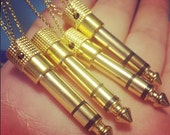 """Audio Jack Necklace - Gold Tone Real Headphone 1/4"""" Adapter Jewelry, 30"""" Long - Unisex Men's Or Women's Musician Gift - Ready To Ship"""