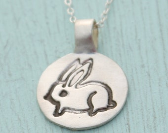 Silver BUNNY necklace, illustration by Boygirlparty, eco friendly silver.  Artisan Made Handcrafted by Chocolate and Steel. Susie Ghahremani