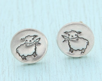 LAMB stud earrings, Illustration by BOYGIRLPARTY, eco-friendly silver.  Handcrafted by Chocolate and Steel.
