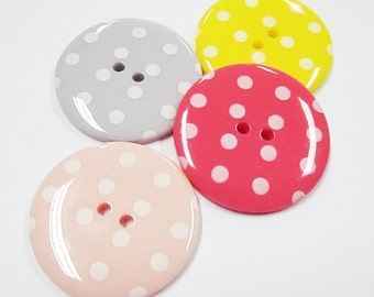 2-hole Jumbo pink, salmon pink, lilac and yellow Polka Dot Buttons - 10 pcs SET 1