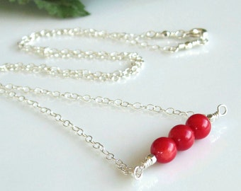 Minimalist Red Coral Gemstone Bar Sterling Silver Necklace Trending Necklace Trending Jewelry