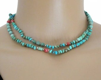 Turquoise Necklace Gemstone Coral Knotted Cord Silver Bead Long DJStrang Boho Cottage Chic