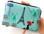 Paris Little Zipper Pouch Coin Purse  ECO Friendly Padded  Paris in Spring LIMITED