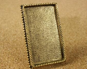 Ornate Large Rectangle Convertible Brooch / Pendant Bezel Frame Tray Antiqued Gold Finish
