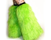 Cyber Fluffies Fuzzy Leg Warmers gogo Boot Covers Lime Green, Burning Man Clothes, Playa Wear, Rave Gear