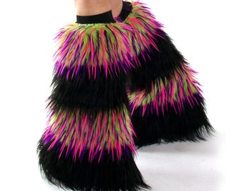 Black / Lime, Pink, Purple Monster Fur Rave Fluffies Fuzzy Boot Covers