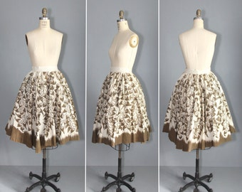 mexican skirt / novelty / GROWING HEARTS vintage 1950s skirt