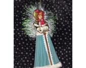 Victorian Snow Girl Holiday Christmas Ornament Folk Art