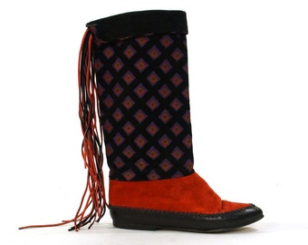 Italian Fringed Suede Moccasin Boots with Geometric Printed Suede / Vintage 1980s Southwestern Boho Moc Boots / Women's Size 7