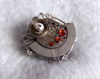 Steampunk Brooch, Vintage Watch Parts  SP22