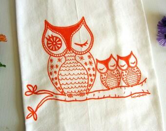 Owls Dish Towel, Owl Family Cotton Flour Sack, Hand Printed Tea Towel,  Orange, Lime Green, Brown