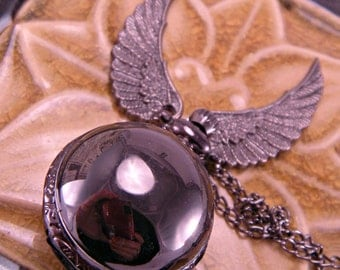 Steampunk Industrial Black Snitch Pocket Watch with 30 Inch Chain