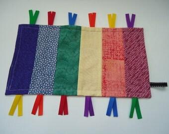 Sensory development toy, rainbow ribbon tag toy, rainbow tag toy, ribbon tag toy, rainbow tag lovey, ribbon tag lovey, baby shower toy.