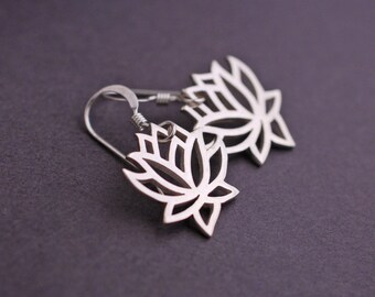 Silver Lotus Earrings, Lotus Flower Earrings, Lotus Jewelry, Yoga Jewelry, Yoga Teacher Gift
