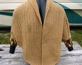 Shawl With Cuffs - Tan -  Handmade Accessory - Jacket - Sweater - Cape - Shrug