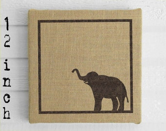 Miss Baba the Circus Elephant - 12 inch Burlap over Cork Message Board, Pin Board, Memo Board, Bulletin Board - Elephant decor