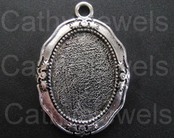 Antique Silver Finish Puritan Settings 25x18 Set Of Six