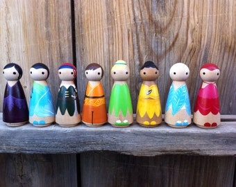 Tinker Bell and Friends PegBuddies set of 8- Tinkerbell Fairies Tink Rosetta Fawn Iridessa Vidia Silvermist Zarina Periwinkle
