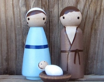 Christmas Nativity Set : Mary, Joseph, Baby Jesus, Manger. Perfect for Children Holy Family